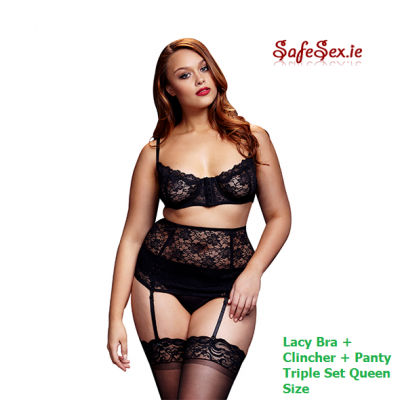 Lacy Bra + Cincher + Panty Set Queen Size